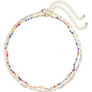 BP Beaded Set Of 2 Necklaces Colorful Stars Gold